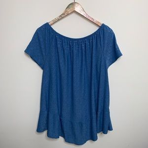 NY Collection Tops - NY Collection Chambray Eyelet Off-The-Shoulder Top